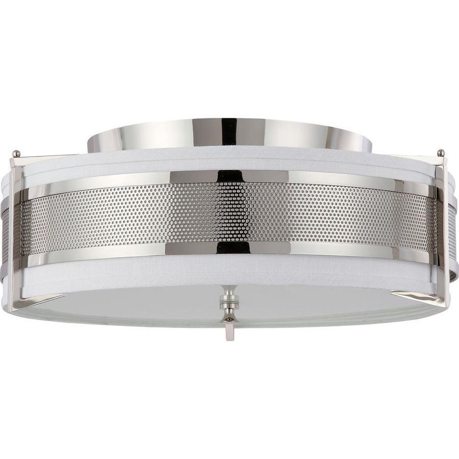 24-in W Polished Nickel Ceiling Flush Mount Light