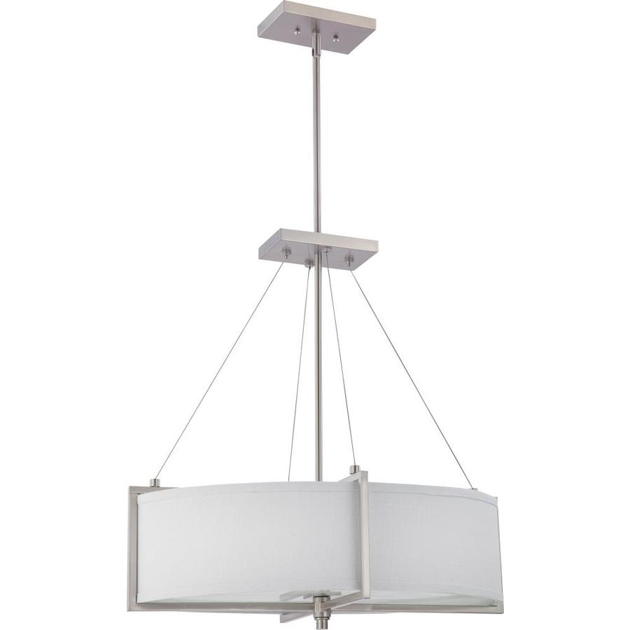 Divina 16.66-in W Brushed Nickel Fabric Semi-Flush Mount Light