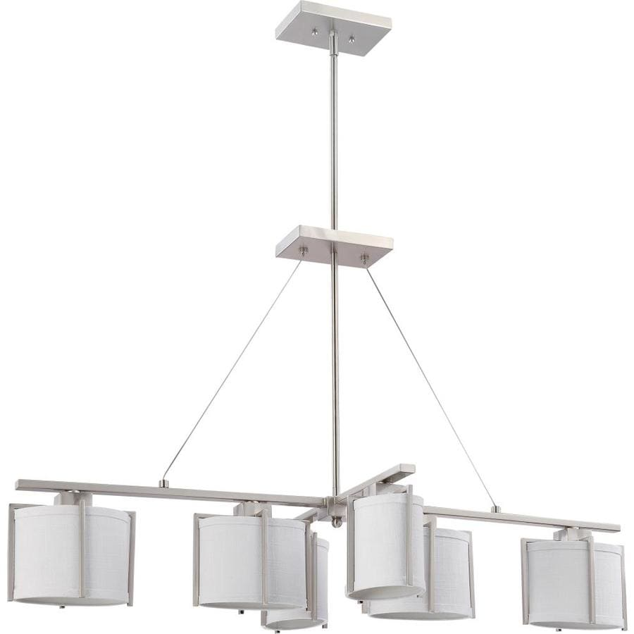 23-in 6-Light Brushed nickel Tinted Glass Linear Chandelier