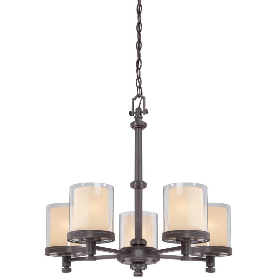 Decker 25-in 5-Light Sudbury bronze Clear Glass Candle Chandelier