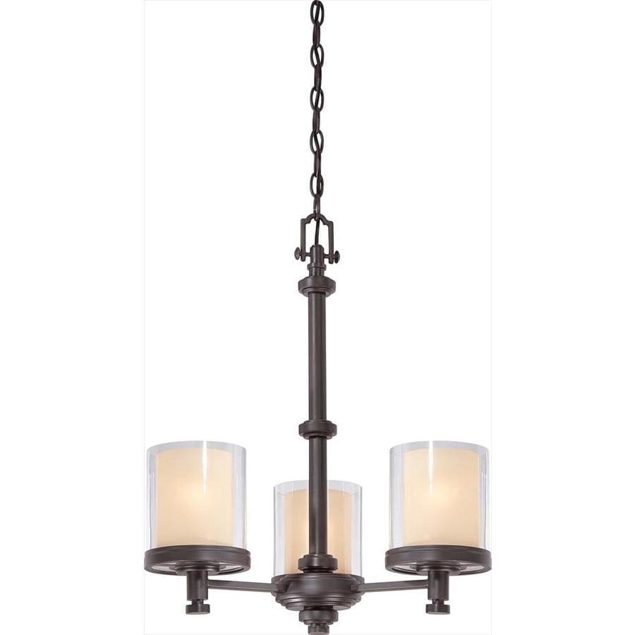 Decker 20-in 3-Light Sudbury bronze Clear Glass Candle Chandelier