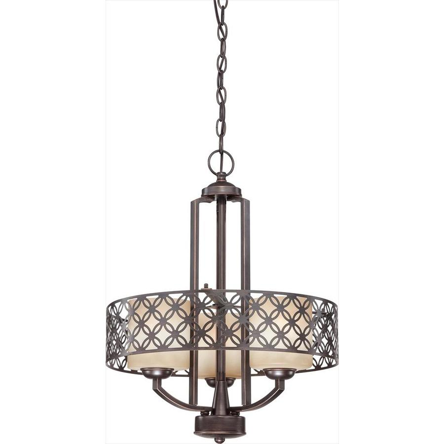 Margaux 24-in 3-Light Patina Bronze Tinted Glass Drum Chandelier