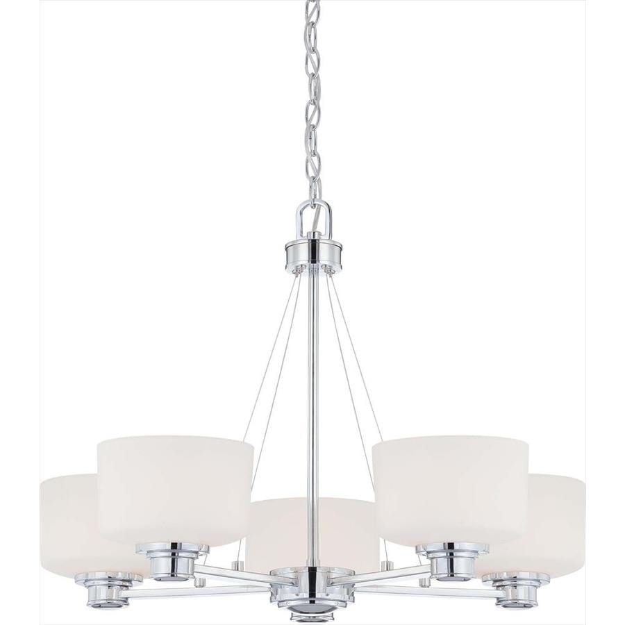Soho 27.5-in 5-Light Polished Chrome Tinted Glass Candle Chandelier