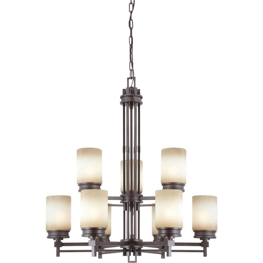 Wright 32-in 9-Light Prairie Bronze Tinted Glass Candle Chandelier