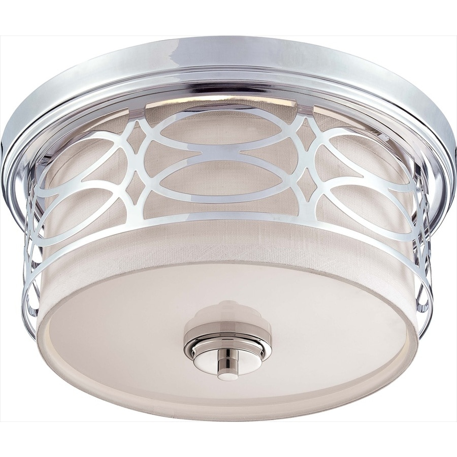 13.37-in W Polished Nickel Standard Flush Mount Light