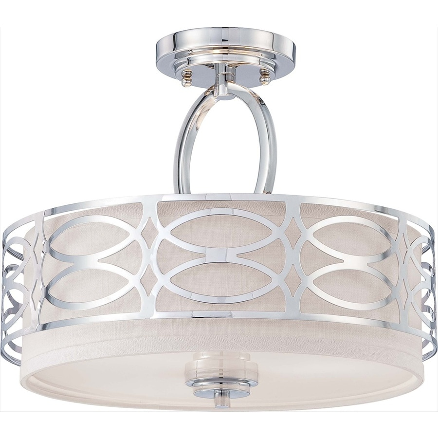 Divina 15-in W Polished Nickel Fabric Semi-Flush Mount Light