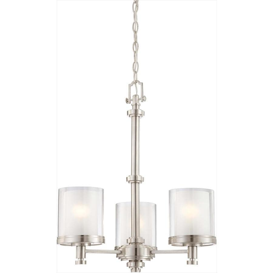 Decker 20-in 3-Light Brushed Nickel Clear Glass Candle Chandelier
