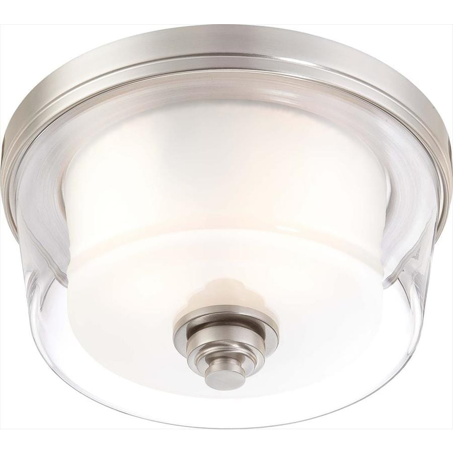 13-in W Brushed Nickel Standard Flush Mount Light