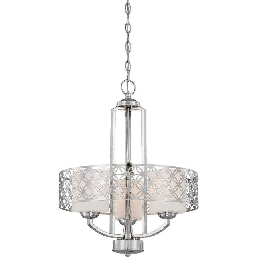 Margaux 24-in 3-Light Polished Nickel Tinted Glass Drum Chandelier
