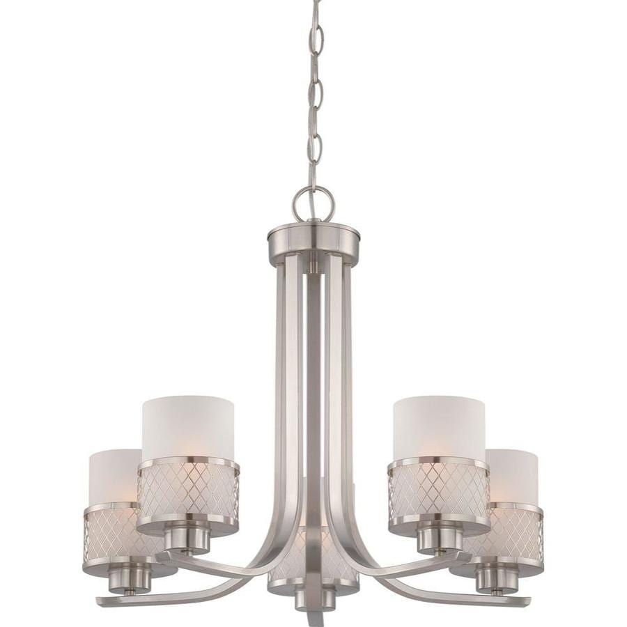 Fusion 22.37-in 5-Light Brushed Nickel Tinted Glass Candle Chandelier