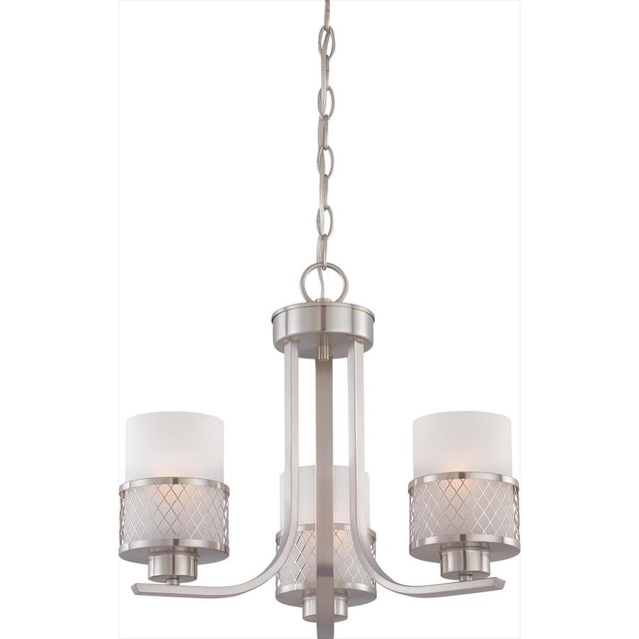 Fusion 17.87-in 3-Light Brushed nickel Tinted Glass Candle Chandelier
