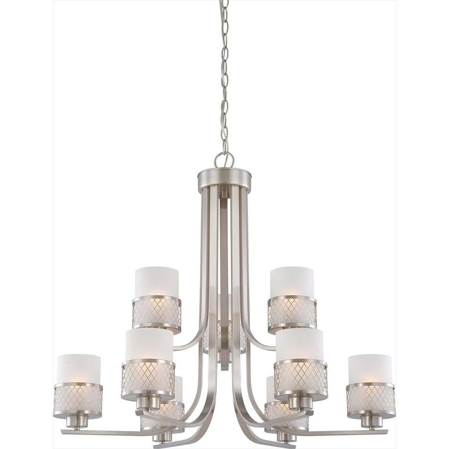 Fusion 30.87-in 9-Light Brushed Nickel Tinted Glass Tiered Chandelier