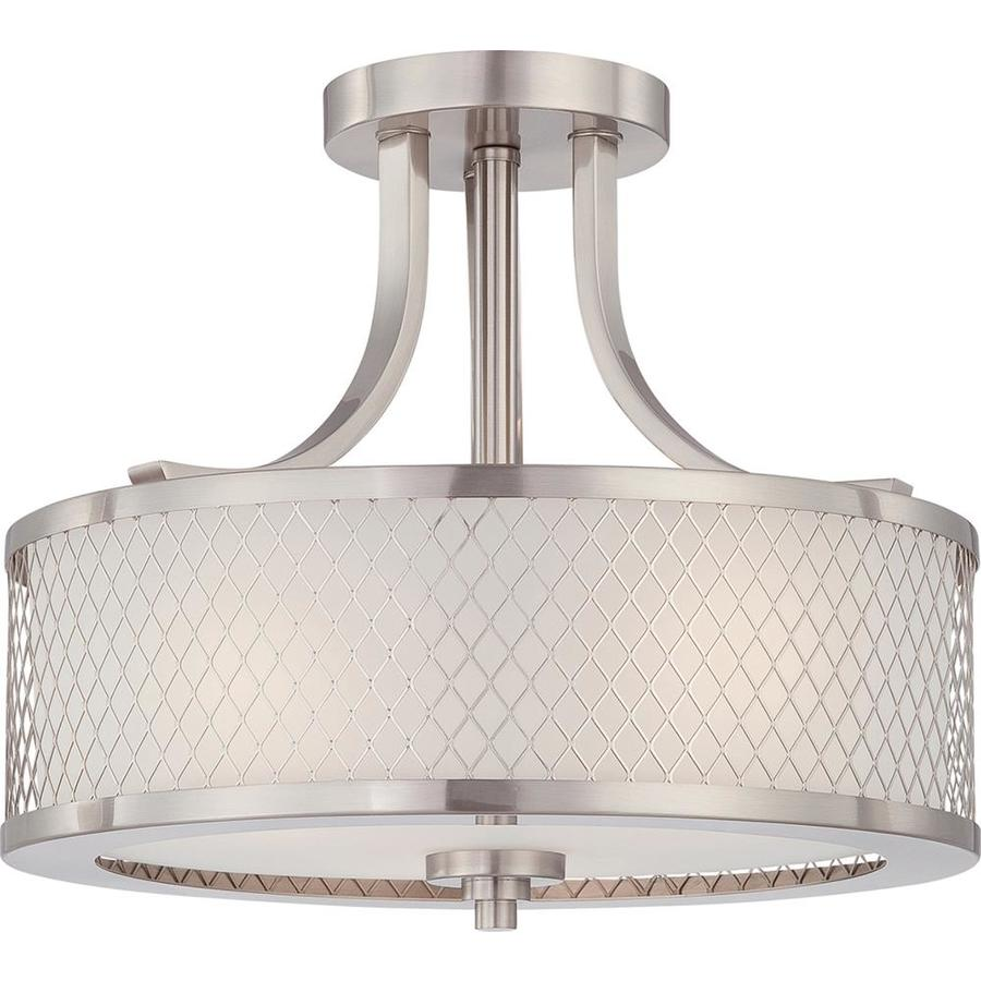 Divina 13.75-in W Brushed nickel Frosted Glass Semi-Flush Mount Light