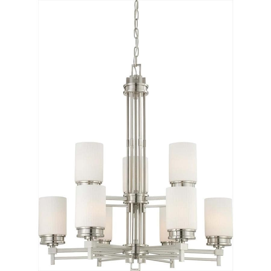 Wright 32-in 9-Light Brushed nickel Tinted Glass Candle Chandelier