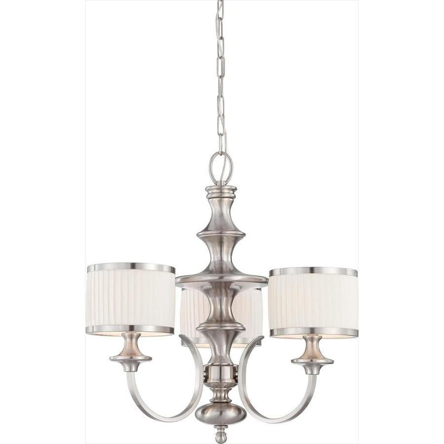 Candice 24-in 3-Light Brushed nickel Tinted Glass Candle Chandelier