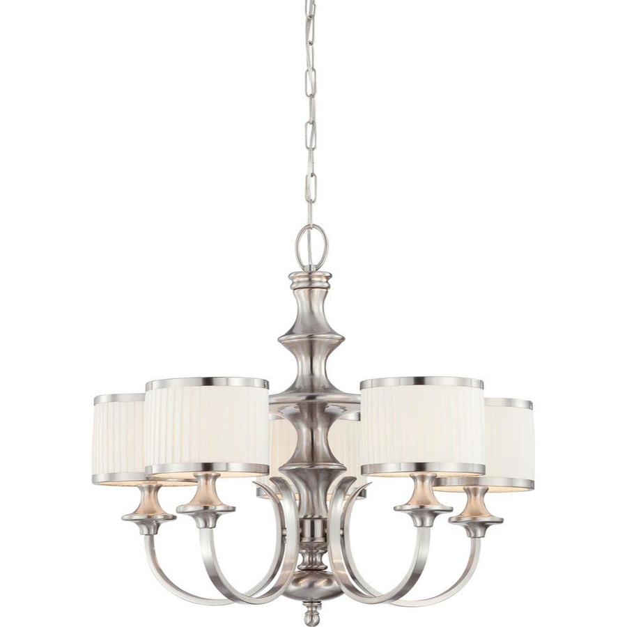 Candice 28-in 5-Light Brushed nickel Tinted Glass Candle Chandelier