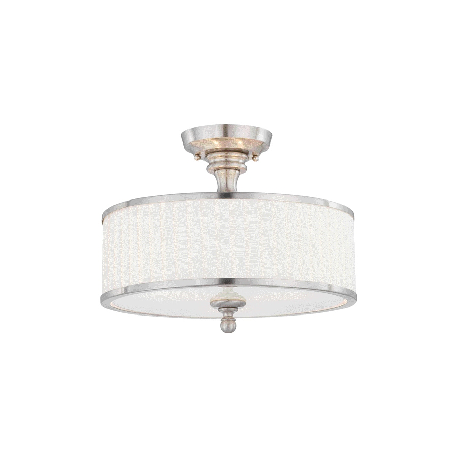 Divina 15.44-in W Brushed Nickel Frosted Glass Semi-Flush Mount Light