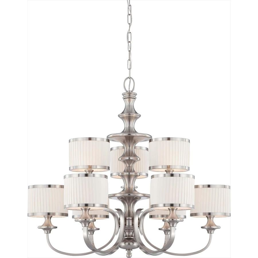 Candice 36-in 9-Light Brushed Nickel Tinted Glass Tiered Chandelier