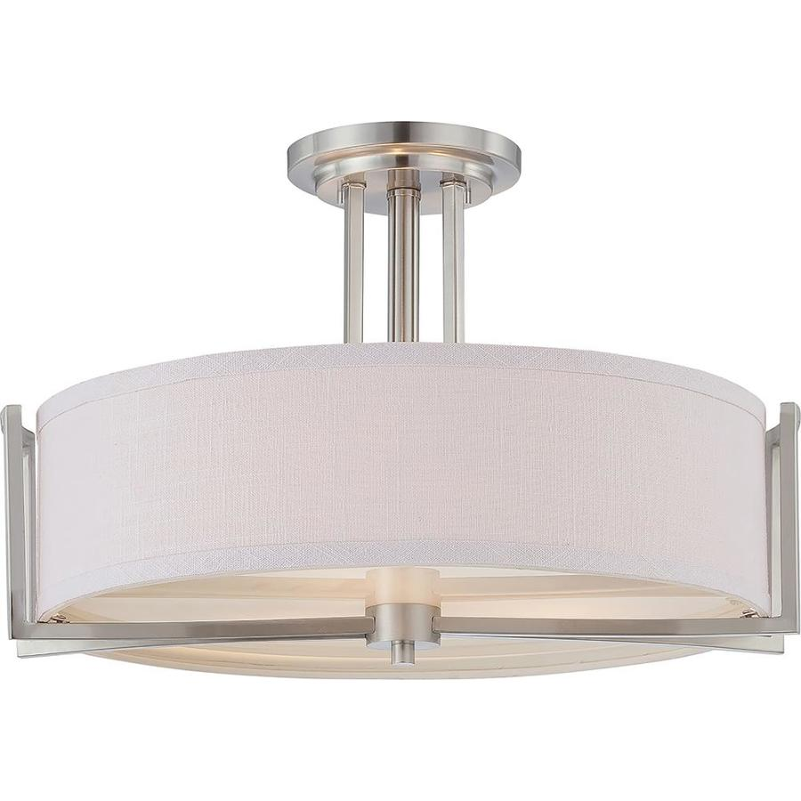Divina 18.62-in W Brushed nickel Fabric Semi-Flush Mount Light