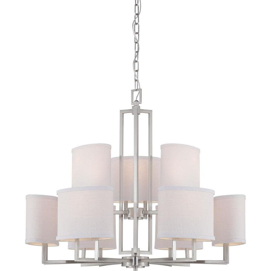 Gemini 31.25-in 9-Light Brushed Nickel Candle Chandelier