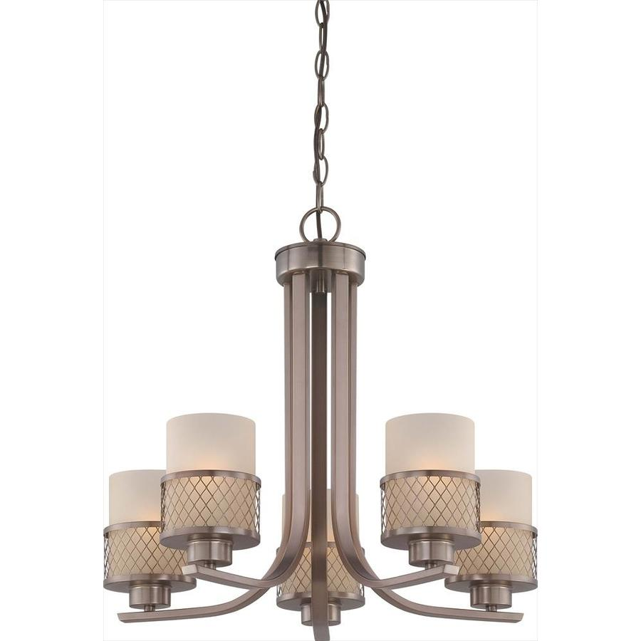 Fusion 22.37-in 5-Light Hazel Bronze Tinted Glass Candle Chandelier