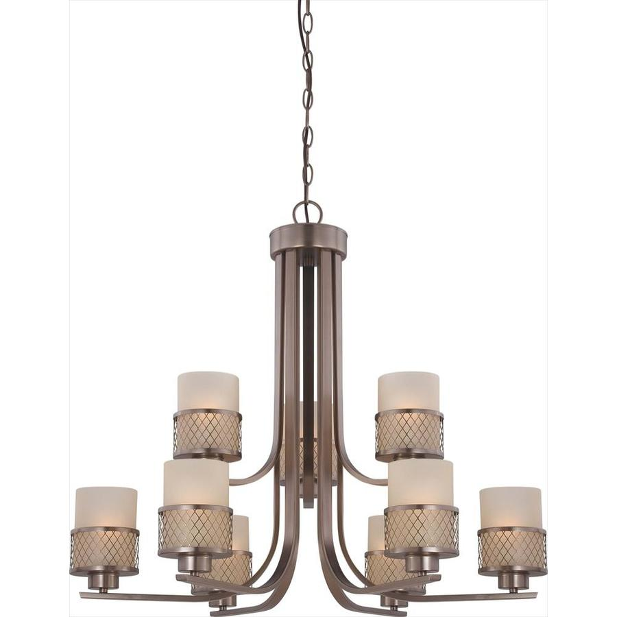 Fusion 30.87-in 9-Light Hazel Bronze Tinted Glass Tiered Chandelier