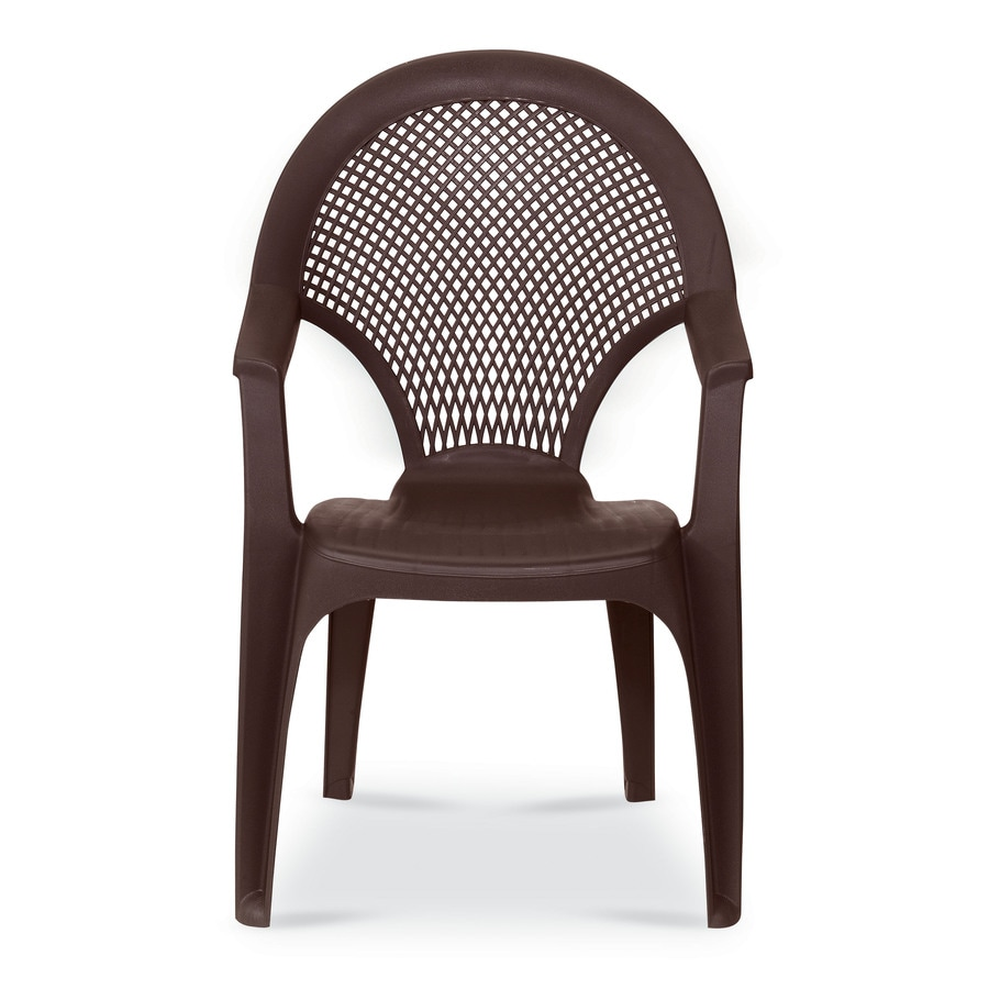 cappuccino slat seat resin stackable patio dining chair at