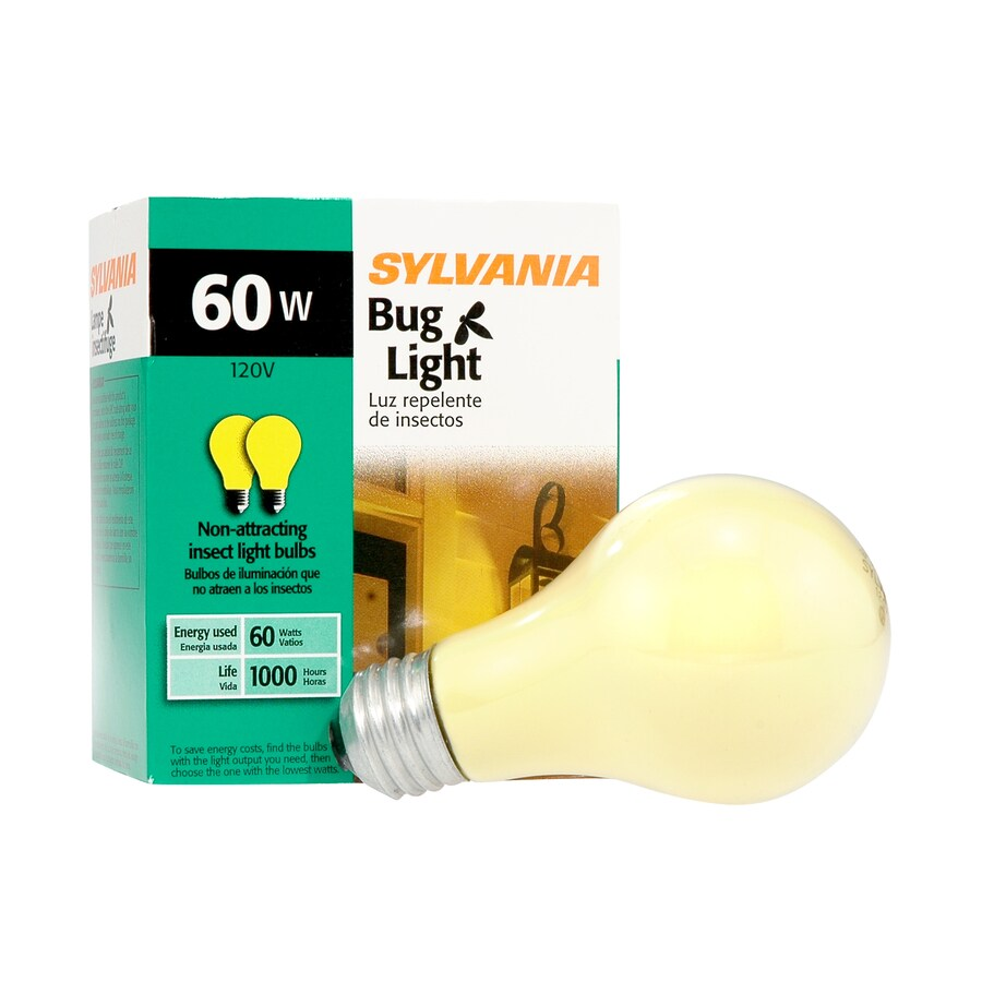 SYLVANIA 2-Pack 60-Watt Dimmable Yellow A19 Incandescent Bug Light Bulb