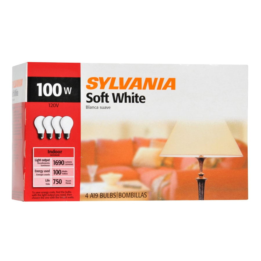 SYLVANIA 4-Pack 100-Watt Soft White Multipurpose Incandescent Light Bulb