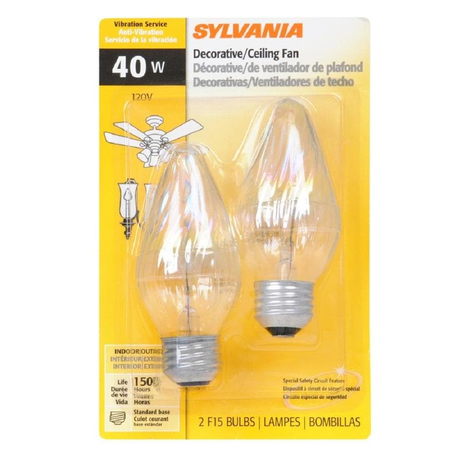 SYLVANIA 2-Pack 40-Watt Dimmable Soft White F Incandescent Decorative Light Bulb