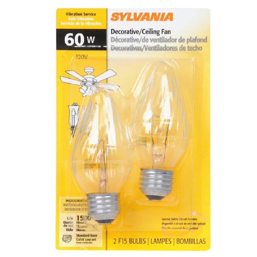 SYLVANIA 2-Pack 60 Watt for Indoor or Enclosed Outdoor Use Only Dimmable Soft White F Incandescent Decorative Light Bulb
