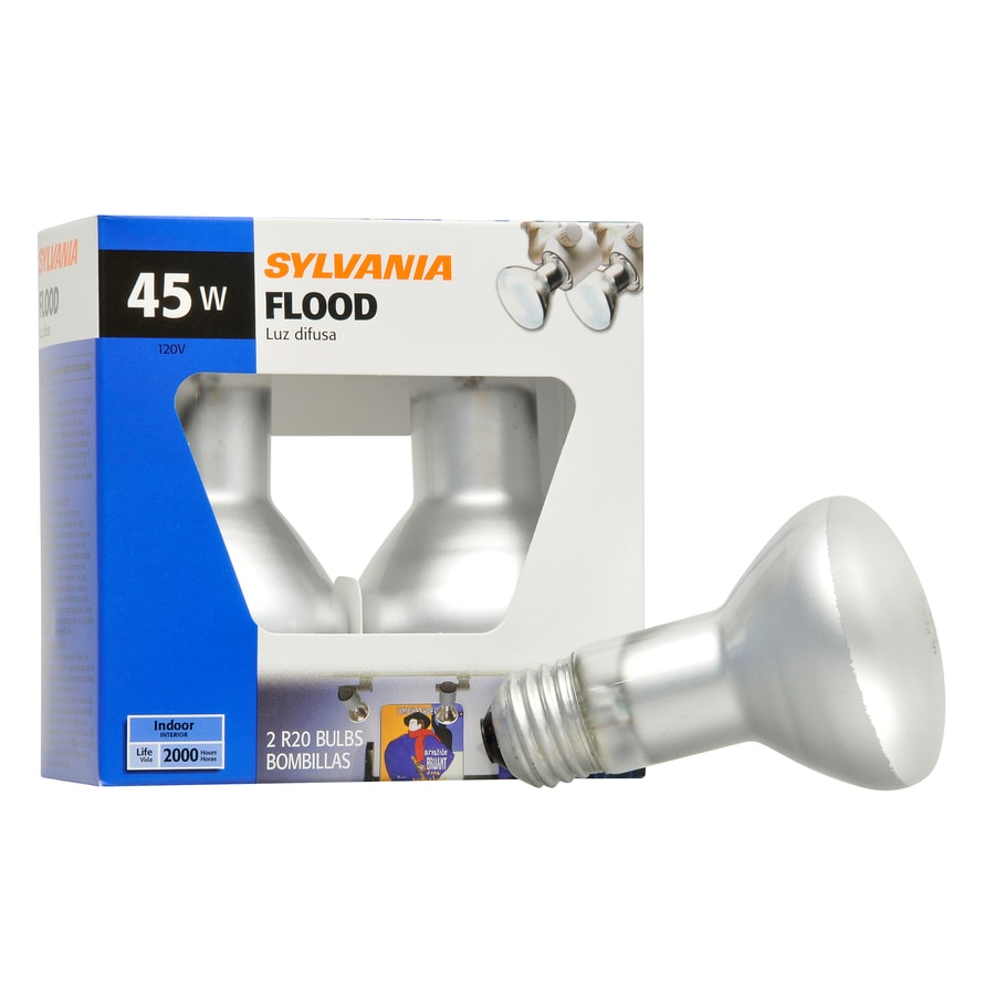 SYLVANIA 2-Pack 45 Watt for Indoor or Enclosed Outdoor Use Only Dimmable Soft White R20 Incandescent Flood Light Bulb