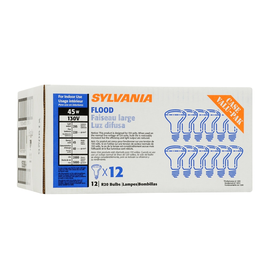 SYLVANIA 12-Pack 45-Watt R20 Medium Base Soft White Dimmable Indoor Incandescent Flood Light Bulbs