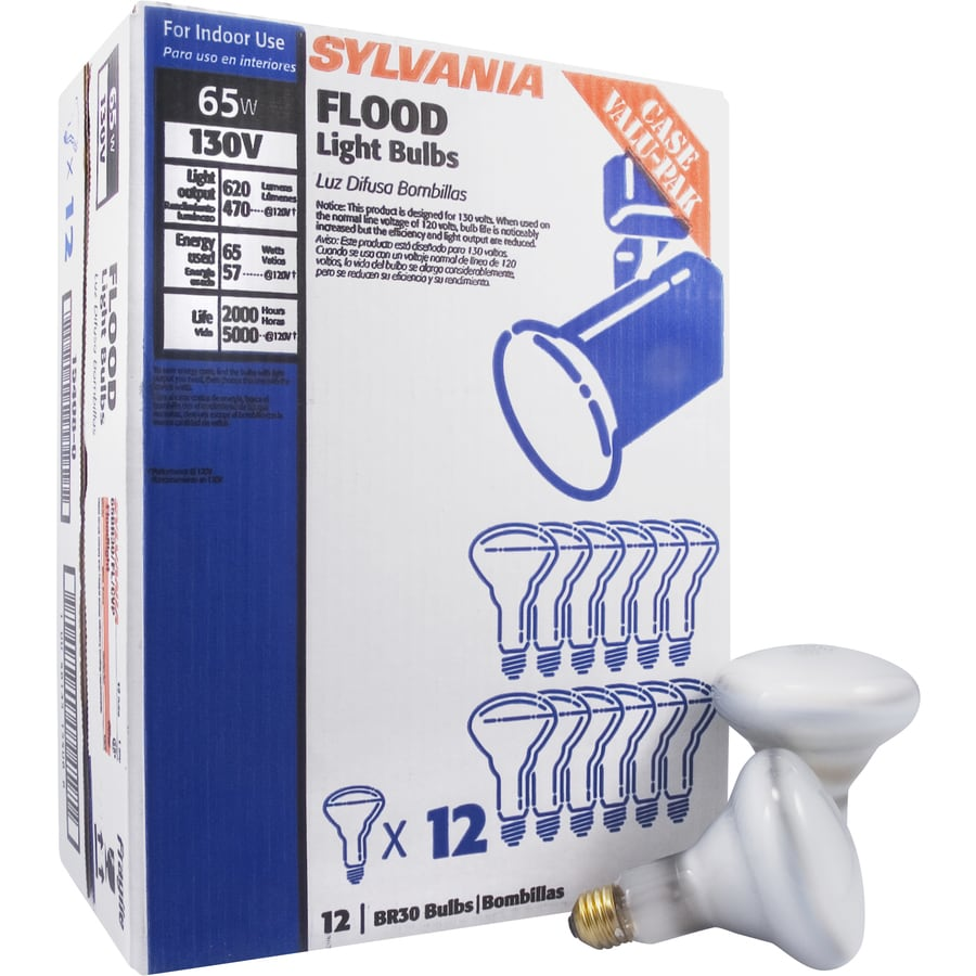 Shop sylvania 12 pack 65 watt dimmable soft white br30 for Where to buy halogen bulbs