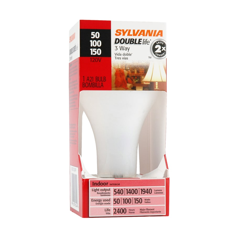 SYLVANIA 150 Watt for Indoor or Enclosed Outdoor Use Only Soft White 3-Way Bulb A21 Incandescent Light Fixture Light Bulb