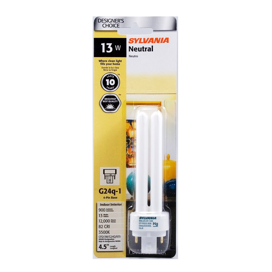 SYLVANIA 13-Watt (13W) Double Tube Plug-in Base Bright White (3500K) CFL Bulb