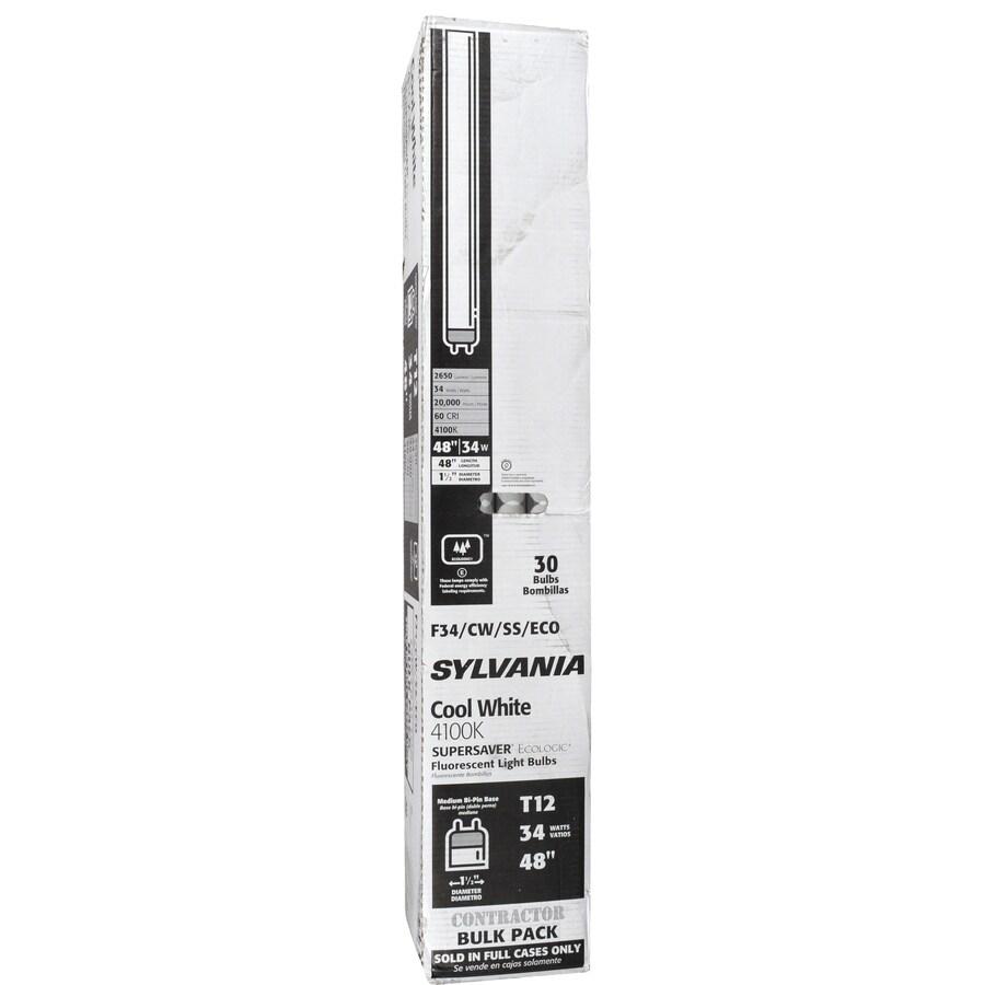 SYLVANIA 30-Pack 34-Watt 4-ft Cool White Fluorescent Light Bulbs