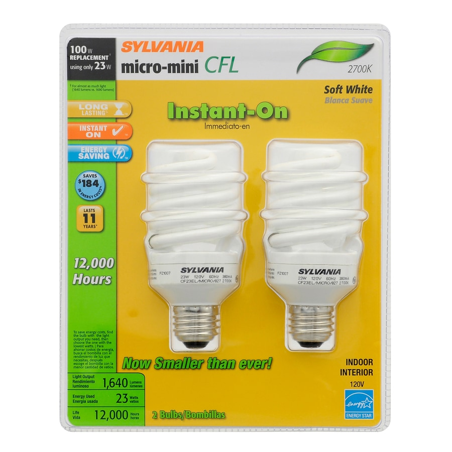 SYLVANIA 2-Pack 23-Watt (100W Equivalent) Spiral Soft White CFL Bulb ENERGY STAR