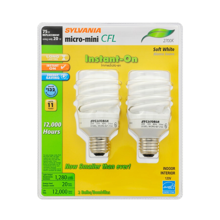SYLVANIA 2-Pack 75 W Equivalent Soft White A19 CFL Light Fixture Light Bulbs