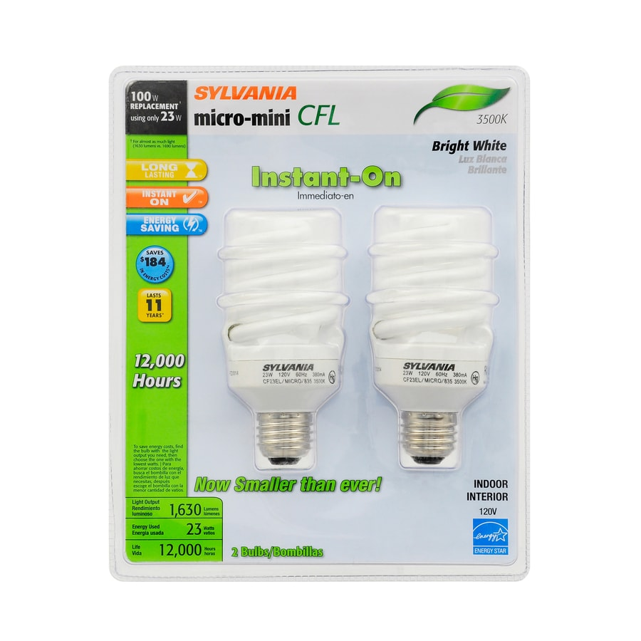 sylvania 2pack 100 w equivalent bright white a19 cfl light fixture light bulbs - Sylvania Light Bulbs
