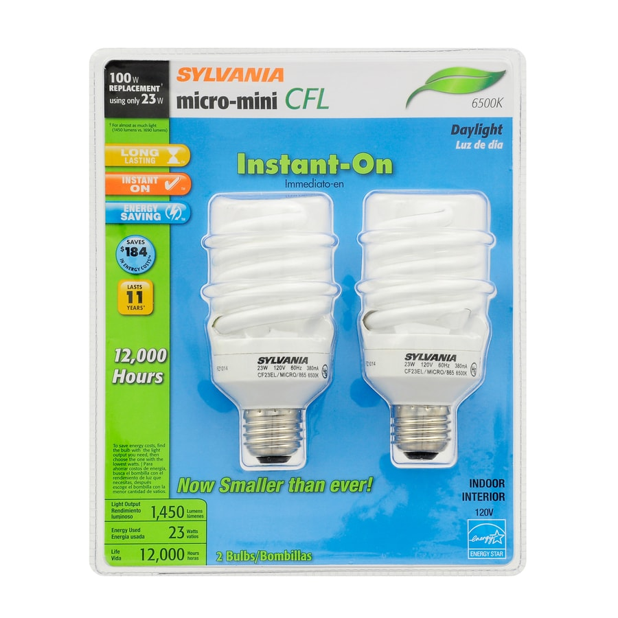 SYLVANIA 2-Pack 100 W Equivalent Daylight A19 CFL Light Fixture Light Bulbs