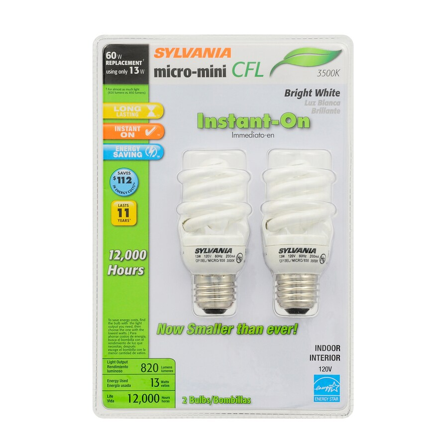 SYLVANIA 2-Pack 60 W Equivalent Bright White A19 CFL Light Fixture Light Bulbs