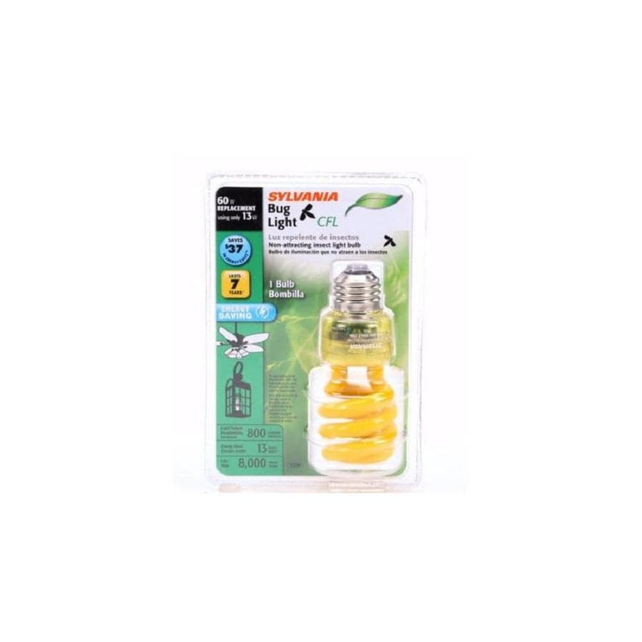 SYLVANIA 60 W Equivalent Yellow A19 CFL Bug Light Bulb