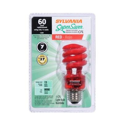 Sylvania 13 Watt Red Compact Fluorescent Light Bulb Cfl At