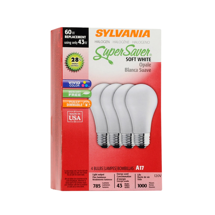 SYLVANIA 4-Pack 43-Watt A17 Medium Base Soft White Light Bulbs