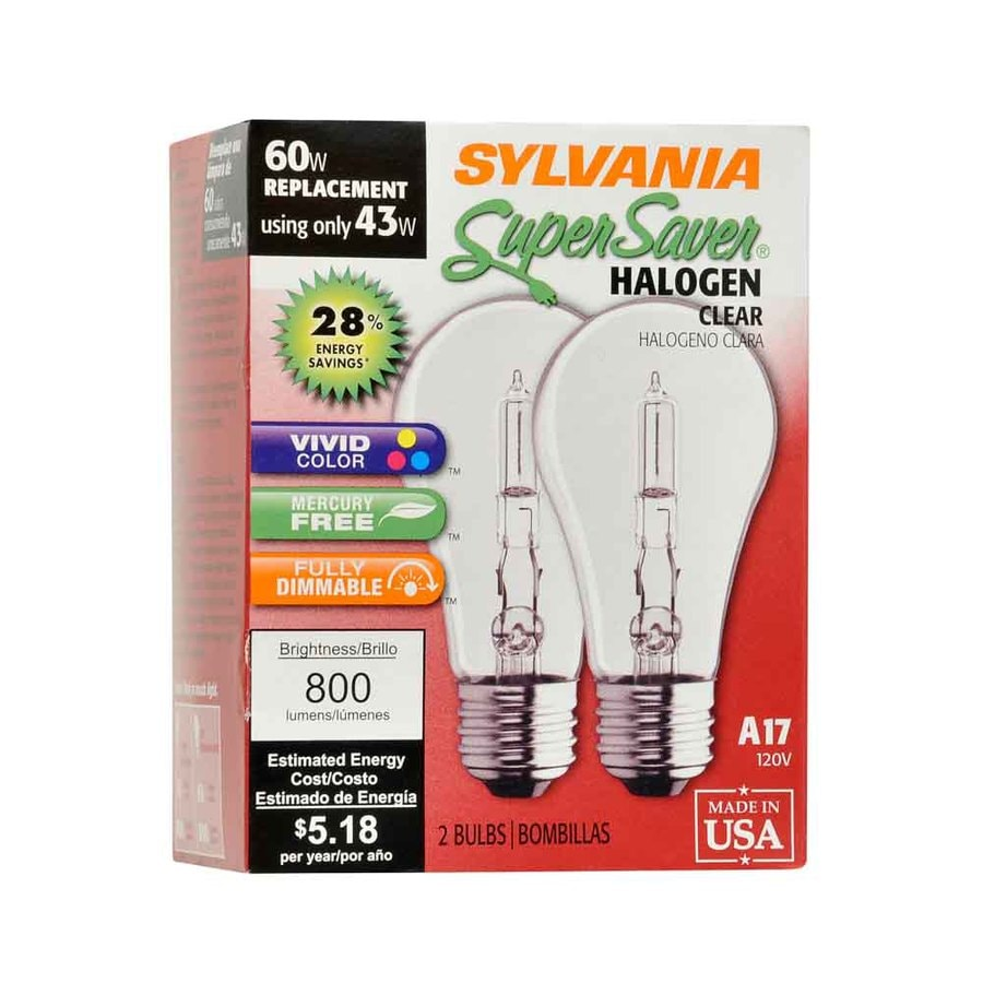 SYLVANIA 2-Pack 43-Watt Dimmable Warm White A19 Halogen Light Fixture Light Bulb