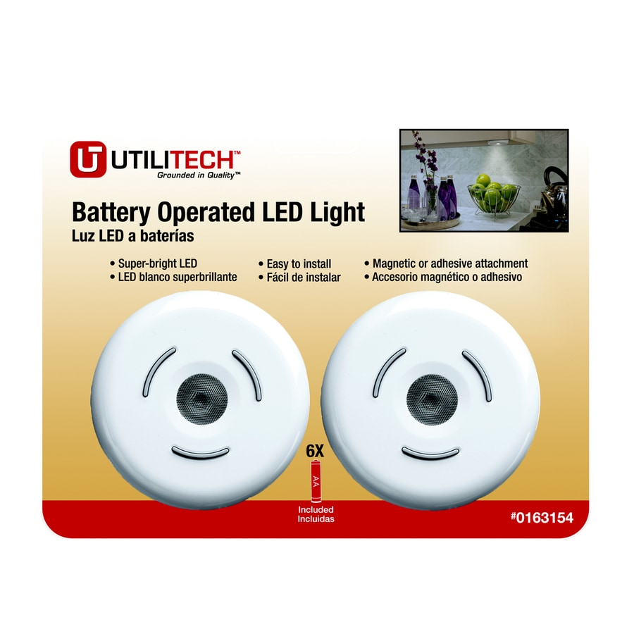 Utilitech 2-Pack Battery Cabinet LED Puck Light Kit
