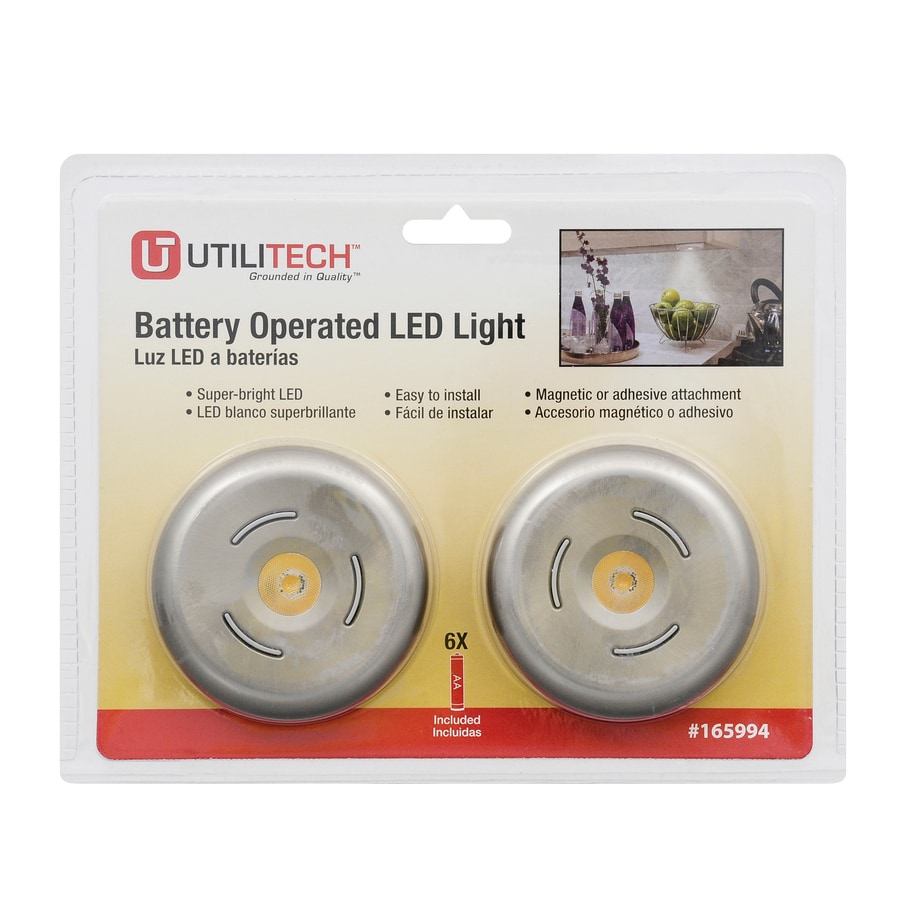 Getinlight Led Puck Lights Kit: Utilitech 2-Pack Battery Cabinet LED Puck Light Kit At