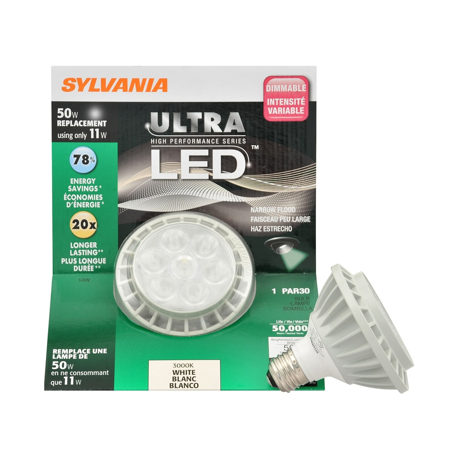 SYLVANIA 50W Equivalent Dimmable Warm White Par30 Shortneck LED Flood Light Bulb