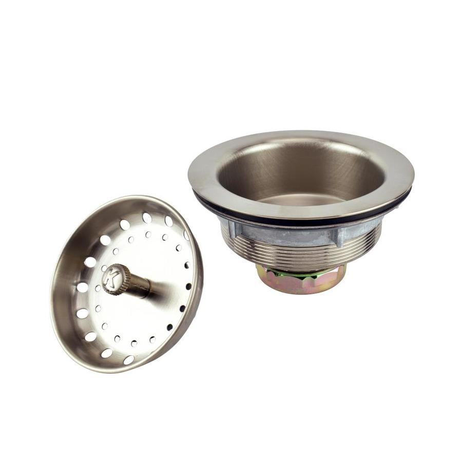 Shop plumb pak 3 5 in brushed nickel stainless steel kitchen sink strainer basket at - Decorative kitchen sink strainers ...